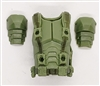 "Male Vest: Armor Type LIGHT GREEN with GREEN Version - 1:18 Scale Modular MTF Accessory for 3-3/4"" Action Figures"
