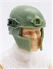 "Headgear: Tactical Helmet LIGHT GREEN with GREEN Version - 1:18 Scale Modular MTF Accessory for 3-3/4"" Action Figures"