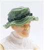 "Headgear: Boonie Hat LIGHT GREEN with GREEN Version - 1:18 Scale Modular MTF Accessory for 3-3/4"" Action Figures"