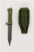 "Fighting Knife & Sheath: Large Size LIGHT GREEN Version - 1:18 Scale Modular MTF Accessory for 3-3/4"" Action Figures"
