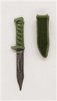 "Fighting Knife & Sheath: Small Size LIGHT GREEN Version - 1:18 Scale Modular MTF Accessory for 3-3/4"" Action Figures"
