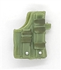 "Pistol Holster: Large Right Handed with Loop LIGHT GREEN with GREEN Version - 1:18 Scale Modular MTF Accessory for 3-3/4"" Action Figures"