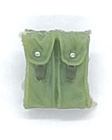 "Ammo Pouch: Double Magazine LIGHT GREEN with GREEN Version - 1:18 Scale Modular MTF Accessory for 3-3/4"" Action Figures"