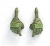 "Male Hands: GREEN Gloves with LIGHT GREEN Pad - Right AND Left (Pair) - 1:18 Scale MTF Accessory for 3-3/4"" Action Figures"