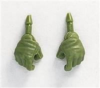 "Male Hands: LIGHT GREEN Full Gloves Right AND Left (Pair) - 1:18 Scale MTF Accessory for 3-3/4"" Action Figures"