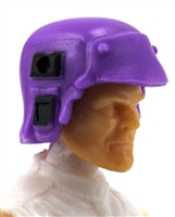 "Headgear: Armor Helmet PURPLE & Black Version - 1:18 Scale Modular MTF Accessory for 3-3/4"" Action Figures"