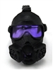 "Headgear: Gasmask BLACK with PURPLE Tint Lenses  - 1:18 Scale Modular MTF Accessory for 3-3/4"" Action Figures"