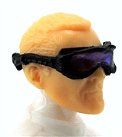 "Headgear: Standard Goggles BLACK Version with PURPLE Tint Lenses   - 1:18 Scale Modular MTF Accessory for 3-3/4"" Action Figures"
