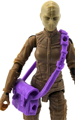 "Satchel Case with Strap: PURPLE Version - 1:18 Scale Modular MTF Accessory for 3-3/4"" Action Figures"