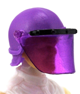 "Headgear: Swat RIOT Helmet with Visor ""Face Shield"" PURPLE Version - 1:18 Scale Modular MTF Accessory for 3-3/4"" Action Figures"