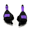 "Male Hands: BLACK Gloves with PURPLE Pad - Right AND Left (Pair) - 1:18 Scale MTF Accessory for 3-3/4"" Action Figures"