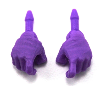 "Male Hands: PURPLE Full Gloves Right AND Left (Pair) - 1:18 Scale MTF Accessory for 3-3/4"" Action Figures"