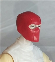 "Male Head: Balaclava Mask RED Version - 1:18 Scale MTF Accessory for 3-3/4"" Action Figures"