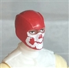 "Male Head: Balaclava RED Mask with White ""JAW"" Deco - 1:18 Scale MTF Accessory for 3-3/4"" Action Figures"