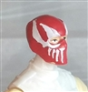 "Male Head: Balaclava RED Mask with White ""FANG"" Deco - 1:18 Scale MTF Accessory for 3-3/4"" Action Figures"
