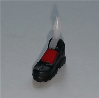 "Male Footwear: Right Black Boot with Red Armor - 1:18 Scale MTF Accessory for 3-3/4"" Action Figures"