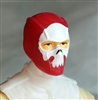 "Male Head: Balaclava RED Mask with White ""SKULL"" Deco - 1:18 Scale MTF Accessory for 3-3/4"" Action Figures"