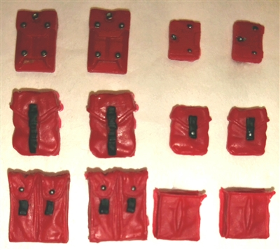 "Pouch & Pocket Deluxe Modular Set: RED Version - 1:18 Scale Modular MTF Accessories for 3-3/4"" Action Figures"