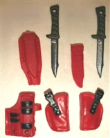 "Pistol Holster & Knife Sheath Deluxe Modular Set: RED Version - 1:18 Scale Modular MTF Accessories for 3-3/4"" Action Figures"