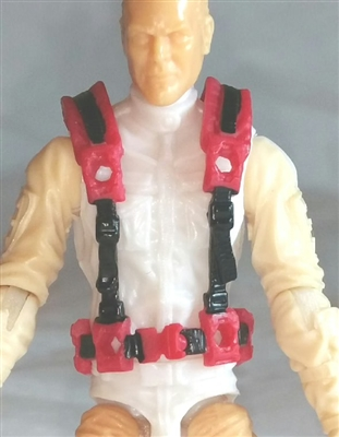 "Male Vest: Harness Rig RED Version - 1:18 Scale Modular MTF Accessory for 3-3/4"" Action Figures"