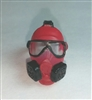 "Headgear: Gasmask RED with BLACK Version - 1:18 Scale Modular MTF Accessory for 3-3/4"" Action Figures"