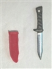 "Fighting Knife & Sheath: Small Size RED Version - 1:18 Scale Modular MTF Accessory for 3-3/4"" Action Figures"