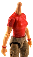 MTF Female Valkyries T-Shirt Torso ONLY (NO WAIST/LEGS): RED & RED Version with LIGHT Skin Tone - 1:18 Scale Marauder Task Force Accessory