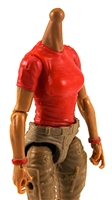 MTF Female Valkyries T-Shirt Torso ONLY (NO WAIST/LEGS): RED & RED Version with TAN Skin Tone - 1:18 Scale Marauder Task Force Accessory