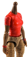 MTF Female Valkyries T-Shirt Torso ONLY (NO WAIST/LEGS): RED & RED Version with DARK Skin Tone - 1:18 Scale Marauder Task Force Accessory
