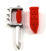 "Knuckle Knife with Sheath: Small Size RED Version - 1:18 Scale Modular MTF Accessory for 3-3/4"" Action Figures"