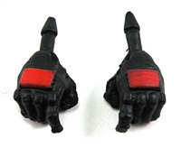 "Male Hands: BLACK Gloves with RED Pad - Right AND Left (Pair) - 1:18 Scale MTF Accessory for 3-3/4"" Action Figures"
