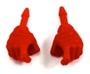 "Male Hands: RED Full Gloves Right AND Left (Pair) - 1:18 Scale MTF Accessory for 3-3/4"" Action Figures"