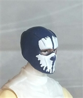 "Male Head: Balaclava BLUE Mask with White ""SPLIT SKULL"" Deco - 1:18 Scale MTF Accessory for 3-3/4"" Action Figures"