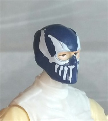 "Male Head: Balaclava BLUE Mask with White ""FANG"" Deco - 1:18 Scale MTF Accessory for 3-3/4"" Action Figures"