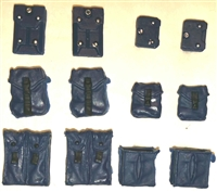 "Pouch & Pocket Deluxe Modular Set: BLUE Version - 1:18 Scale Modular MTF Accessories for 3-3/4"" Action Figures"