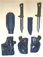 "Pistol Holster & Knife Sheath Deluxe Modular Set: BLUE Version - 1:18 Scale Modular MTF Accessories for 3-3/4"" Action Figures"