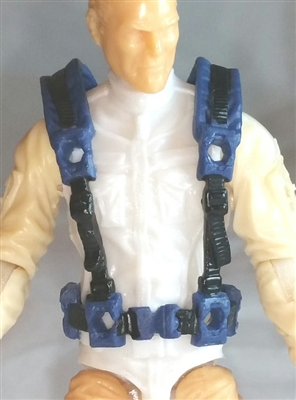 "Male Vest: Harness Rig BLUE Version - 1:18 Scale Modular MTF Accessory for 3-3/4"" Action Figures"