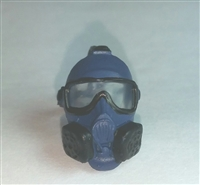 "Headgear: Gasmask BLUE with BLACK Version - 1:18 Scale Modular MTF Accessory for 3-3/4"" Action Figures"