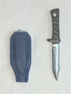 "Fighting Knife & Sheath: Large Size BLUE Version - 1:18 Scale Modular MTF Accessory for 3-3/4"" Action Figures"