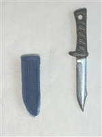 "Fighting Knife & Sheath: Small Size BLUE Version - 1:18 Scale Modular MTF Accessory for 3-3/4"" Action Figures"