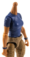 MTF Female Valkyries T-Shirt Torso ONLY (NO WAIST/LEGS): BLUE & BLUE Version with TAN Skin Tone - 1:18 Scale Marauder Task Force Accessory