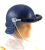 "Headgear: Swat RIOT Helmet with Visor ""Face Shield"" BLUE Version - 1:18 Scale Modular MTF Accessory for 3-3/4"" Action Figures"