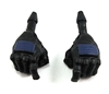 "Male Hands: BLACK Gloves with BLUE Pad - Right AND Left (Pair) - 1:18 Scale MTF Accessory for 3-3/4"" Action Figures"
