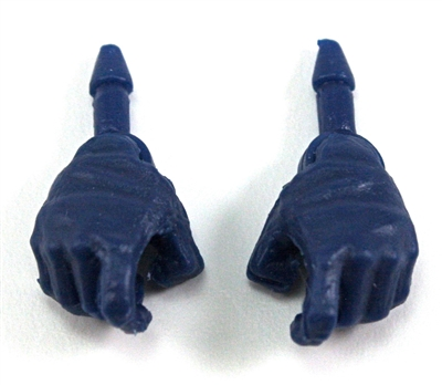 "Male Hands: BLUE Full Gloves Right AND Left (Pair) - 1:18 Scale MTF Accessory for 3-3/4"" Action Figures"