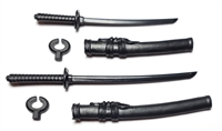 "Samurai Long & Short Sword Set: ALL BLACK Version - 1:18 Scale Modular MTF Weapons for 3-3/4"" Action Figures"
