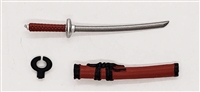 "Samurai Short Wakizashi Sword & Scabbard: RED with BLACK Details - 1:18 Scale Modular MTF Weapon for 3-3/4"" Action Figures"