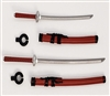 "Samurai Long & Short Sword Set: RED with BLACK Details - 1:18 Scale Modular MTF Weapon for 3-3/4"" Action Figures"