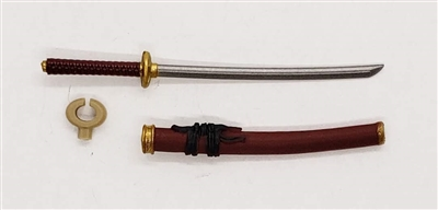 "Samurai Long Katana Sword & Scabbard: BURGUNDY with BLACK & GOLD Details - 1:18 Scale Modular MTF Weapon for 3-3/4"" Action Figures"