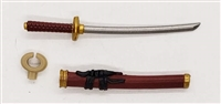 "Samurai Short Wakizashi Sword & Scabbard: BURGUNDY with BLACK & GOLD Details - 1:18 Scale Modular MTF Weapon for 3-3/4"" Action Figures"