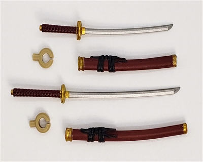 "Samurai Long & Short Sword Set: BURGUNDY with BLACK & GOLD Details - 1:18 Scale Modular MTF Weapon for 3-3/4"" Action Figures"